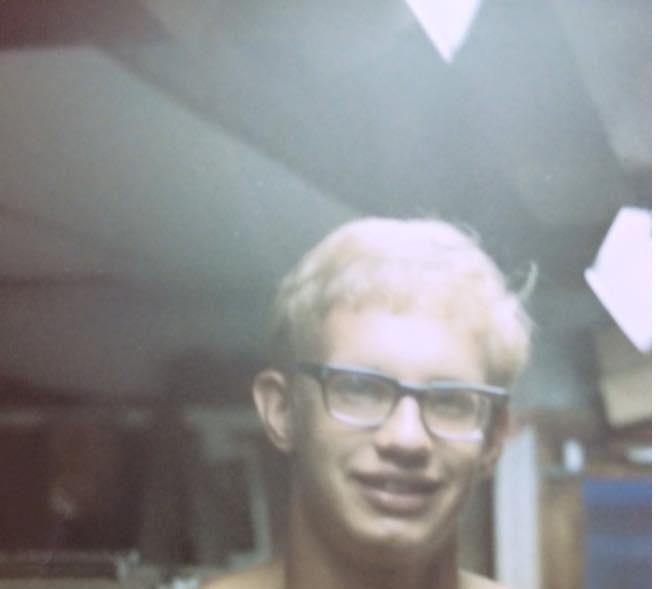 Paul in his tent, in Vietnam