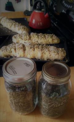 oregano, basil, and bread